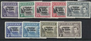 BC655) Tristan da Cunha 1952 KGVI Overprints on St Helena part set to 1/-, SG1-9
