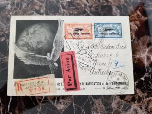 1927 Marseille France Airmail Postcard Cover to Austria Aviation Expo # C1 C2