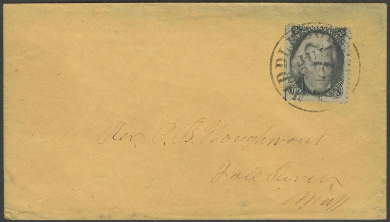 #73 STRADDLE COPY ON LOCAL COVER MIDDLEBORO, MASS. CDS PLYMOUTH Co. BR9340