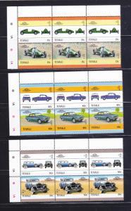Tuvalu 391-396 Strips Of 3 Set MNH Cars