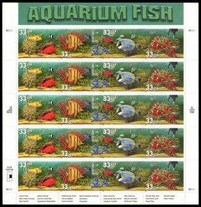 # 3317-3320  Aquarium Fish 33¢ Sheet of 20   MNH