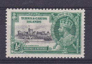 DB389) Turks & Caicos Islands 1935 Jubilee halfpenny black & green SG 187