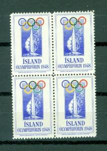 Iceland.  Poster Stamp 4-Block,Mnh. 1948 Olympic Support