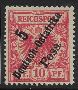 GERMAN EAST AFRICA SG11 1896 5p ON 10pf ROSE USED