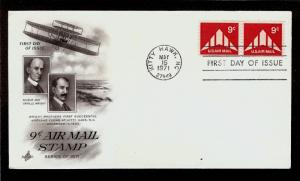 FIRST DAY COVER #C77 Flying Wing 9c Air Mail Coil Pair ARTCRAFT U/A FDC 1971
