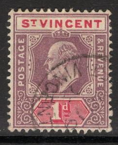 ST.VINCENT SG77 1902 1d DULL PURPLE & CARMINE USED