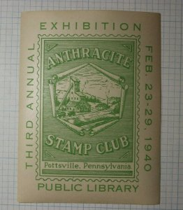 Anthracite Stamp Club Exibition1940 Pottsvill PA Public Library Souvenir Label