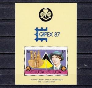 St. Lucia, Scott cat. 824 E. Girl Scout s/sheet, Scarce Blue Capex o/print.