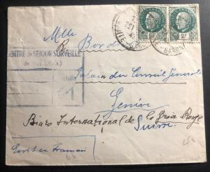 1942 France Concentration Internment Camp Noe Prisoner Cover To Redcross Swiss