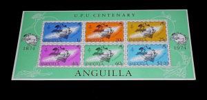 ANGUILLA #204a, 1974, U.P.U. CENTENARY, SOUVENIR SHEET, MNH, NICE LQQK