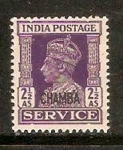 India Convention States -  CHAMBA 1941-46 2½ As KG VI SERVICE SG - O80 / Sc ...