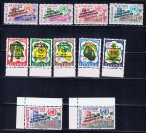 Guinea 205-13 and C27-28 MNH 1961 Overorint set