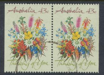 SG 1231  SC# 1164b  Used pair left / right margin imperf Wildflowers