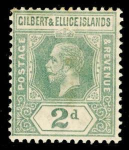 GILBERT & ELLICE ISLANDS SG14, 2d greyish slate, LH MINT. Cat £15.