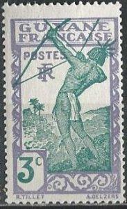 French Guiana 111 (mh) 3c Carib archer, gray lilac & greenish blue (1940)