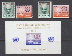 Liberia Sc 402, C139-C140 MNH. 1962 Malaria Eradication, cplt set including s/s
