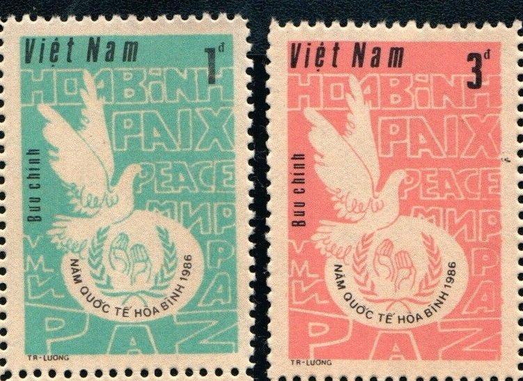 Vietnam 1986 MNH Stamps Scott 1713-1714 International Peace Year Dove Pigeon