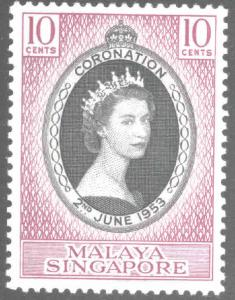 Singapore Scott 27 Coronation issue 1953 MH*