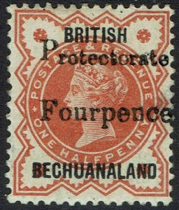 BECHUANALAND 1889 QV GB PROTECTORATE FOURPENCE ON 1/2D