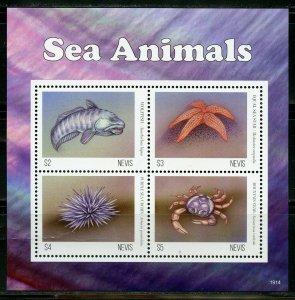NEVIS 2020 SEA  ANIMALS SHEET MINT NH