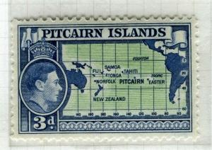 PITCAIRN ISLANDS; 1938 early GVI pictorial issue fine Mint hinged 3d. value