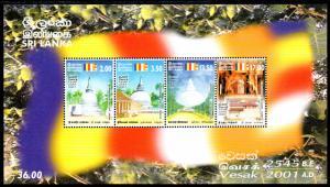 SRI LANKA 1336a S/S MNH SCV $2.75 BIN $1.75 VESAK 2001 AD