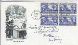 1949, 200th Anniv. Washington & Lee University, Artmaster, FDC (D15051)