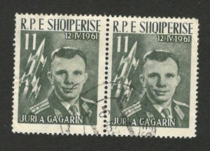 ALBANIA - PAIR USED STAMPS - COSMOS - GAGARIN - SPACE - 1961.