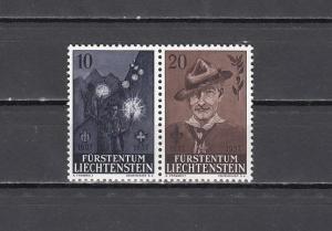 Liechtenstein, Scott cat. 315-316. Scout Baden Powell Birth Anniversary issue.