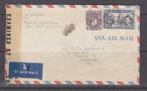 NIGERIA,  c1945 Airmail Censored cover, KGVI 6d. & 2s.6, Minna to USA.