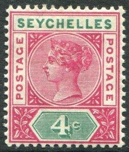 SEYCHELLES-1890-92 4c Carmine & Green Die I Sg 2 MOUNTED MINT V48925