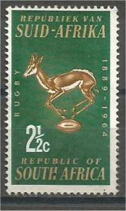 SOUTH AFRICA, 1964, Mint 21/2c, Rugby Board. Springbok, Scott 301