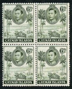 Cayman Is SG122 6d Olive Green Perf 11.5 x 13 Block of Four M/M Cat 60 pounds