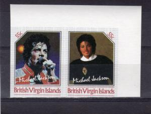 British Virgin Islands 1985 Michael Jackson Unissue IMPERFORATED  55c Pair MNH