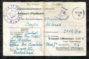 p405-WW2 1943 CENSORED Postcard from POW Camp Offlag VI/C to Camp XIII/B GERMANY
