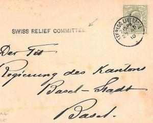 CB14 1910 GB DISASTER CHARITY Liverpool *Swiss Relief Committee* Cachet Cover