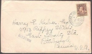 TURKS & CAICOS 1938 cover to USA with GV 2½d - Grand Turk cds..............35255
