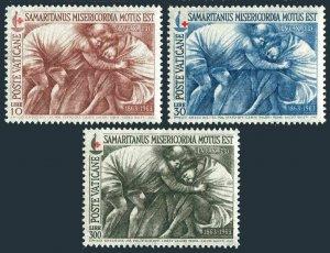 Vatican 392-394 two sets,MNH.Mi 459-461. Red Cross 100,1964.The Good Samaritan.