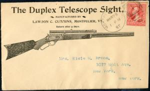 DUPLEX TELESCOPE SIGHT PMK MONTPELIER,VT MAR. 23, 1897 GUN COVER BP2362 SR17A