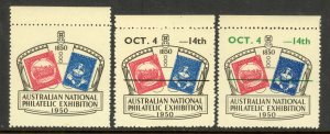 AUSTRALIA 1950 NATIONAL PHILATELIC EXHIBITION Label 3 Different MNH