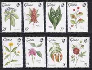 Gambia # 877-884, Medicinal Flowers, NH, 1/2 Cat.