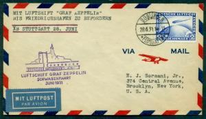 GERMANY 1931 Schwaben Zeppelin flight to Friedrichshafn to U.S. w/C36 2mk Zepp