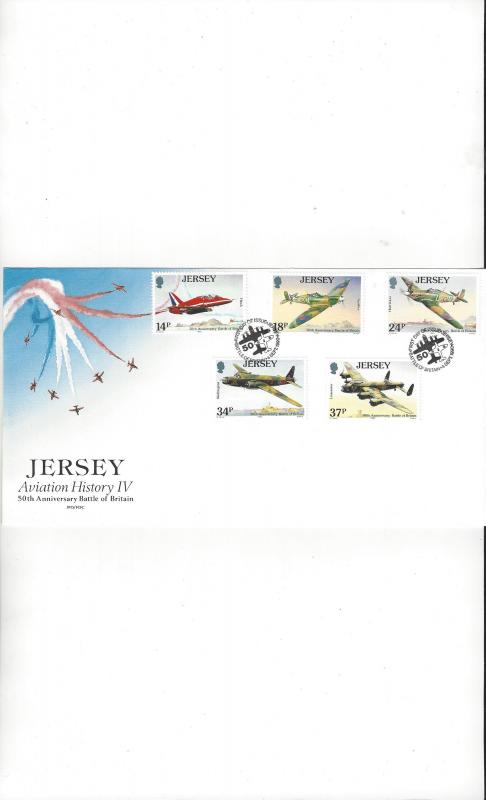 Jersey 544-8 Aviation History IV FDC Jersey Post Office
