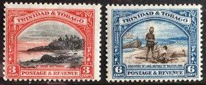1936 Trinidad and Tobago 2 MLH Definitives Sc# 36 & 37a