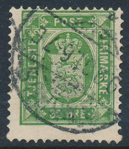 Denmark Scott O9 (AFA TJ7), 32ø green Official, F Used