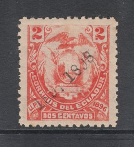 Ecuador Sc 113 MNH. 1897 2c red Coat of Arms, counterfeit ovpt on genuine stamp