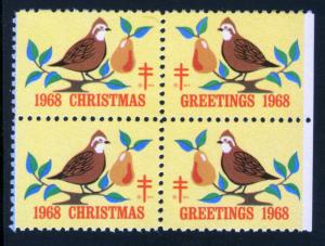 1968 CHRISTMAS SEALS, MINT BLOCK OF 4 - CHRIST002