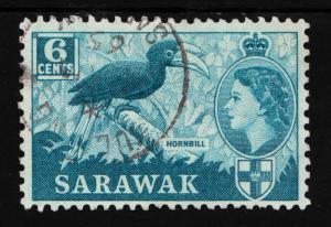 Sarawak Sc#200 QE II & Hornbill 6C F-VF Used