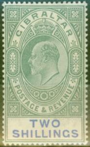 Gibraltar 1903 2s Green & Blue SG52 Fine & Fresh Lightly Mtd Mint (6)