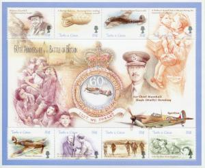 Turks & Caicos 2000 MNH WW2 WWII Battle Britain 8v M/S Churchill Aviation Stamps
